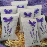 Muslin sachets filled with lavender buds.