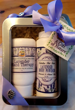 A lovely lavender essential oil enhanced body powder and a 2 oz. Lavender Hand Therapy Cream.  Wonderful for the lavender lover!  The powder is made with Arrowroot powder and Kaolin Clay and Essential Oil of Lavender.