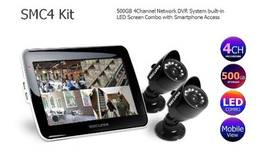 "Securix SMC4S KIT (500GB) CCTV 4 Channel DVR built in 10.1"" LED Screen Combo & 2 x Weatherproof Night Vision Cameras"
