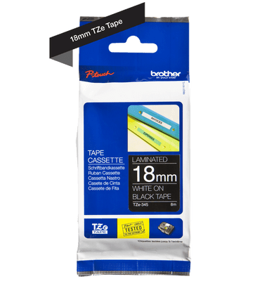 Brother P-Touch Tape Cassette Laminated 18mm White on Black Tape