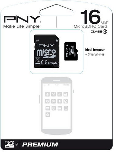 PNY 16GB MicroSDHC Flash Card Class 4 with micro to SDHC Adapter