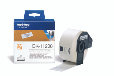-Brother DK11208 38x90mm Large Address Label - White (Roll of 400)