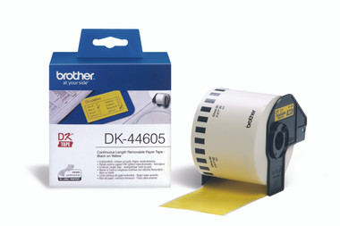 -Brother DK-44605 Continuous-Length, Removable Yellow Label 62mm (30.48m)