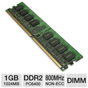 PNY 1GB DIMM DDR2 800Mhz PC6400 Memory