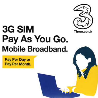Three 3G Pay As You Go Mobile Broadband SIM