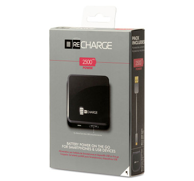 Recharge 2500 Battery Powered Ultimate Portable USB Charger - Black