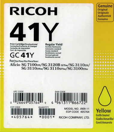 Ricoh 41Y Gel Ink - Standard Capacity - Yellow (2400 Page)