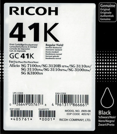 Ricoh 41BK Gel Ink - Standard Capacity - Black (2400 Page)