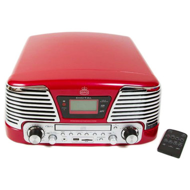 GPO Memphis Red Retro Music Player - (Vinyl, MP3, FM Radio, CD)