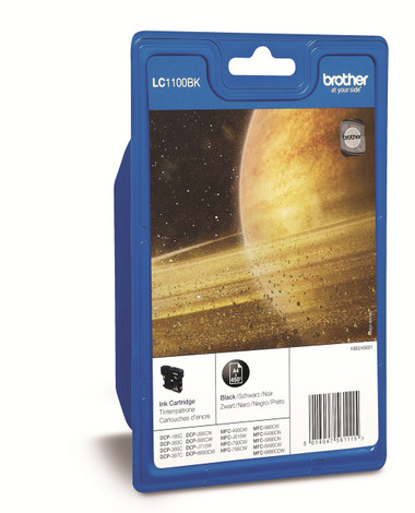 Brother LC1100BK Genuine Ink Cartridge - 450 Page - Black