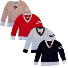 Movetes Varsity V-Neck Sweater