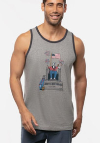 Travis Mathew Red White and Beer Tank Top - Grey