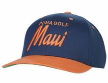 Puma Golf Men's Maui City Snapback Hat Cap - Dark Denim/Cantaloupe