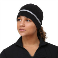 TrailHeads Women's Ponytail Hat - Reflective Cold Weather Running Beanie - black/snowflake