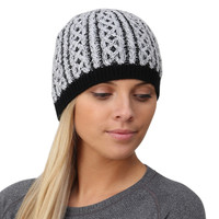 TrailHeads Cable Knit Women's Winter Beanie - black / white