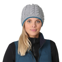 TrailHeads Women's Cable Knit Beanie with Fleece Lining - storm grey / blue spruce