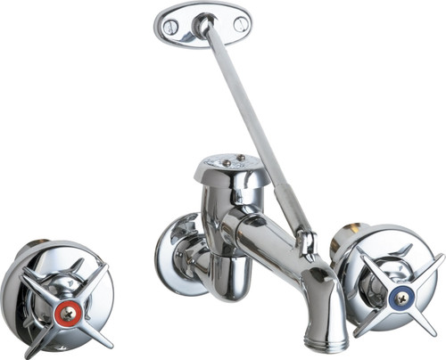 Chicago Faucets (782-VBCP) Concealed Hot and Cold Water Sink Faucet with Pail Hook