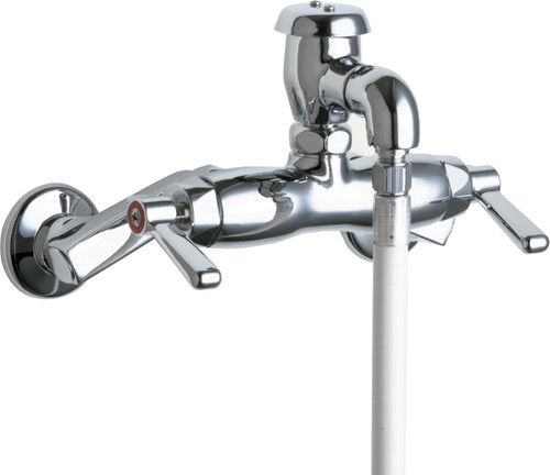 Chicago Faucets (956-CP) Hot and Cold Water Sink Faucet with Vinyl Hose