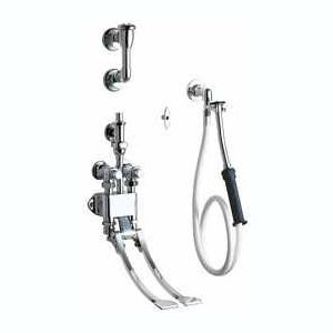 """Chicago Faucets (910-GSLO777-19KCP) Pedal Valve Bed Pan Cleaner with 53"""" White Vinyl Hose with Insulated Handle and Loose Key"""