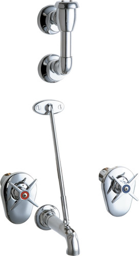 Chicago Faucets (911-ISCP) Concealed Hot and Cold Water Sink Faucet with Integral Service Stops