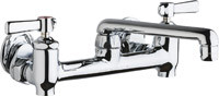 Chicago Faucets (640-S6E35-369YAB) Hot and Cold Water Sink Faucet with Integral Supply Stops