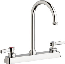 Chicago Faucets (W8D-GN2AE1-369ABCP)  Hot and Cold Water Workboard Sink Faucet