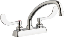 Chicago Faucets (W4D-L9E35-317ABCP)  Hot and Cold Water Workboard Sink Faucet