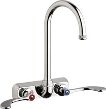 Chicago Faucets (W4W-GN2AE1-317ABCP)  Hot and Cold Water Workboard Sink Faucet