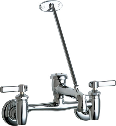 Chicago Faucets (897-CCP)  Hot and Cold Water Sink Faucet with Integral Hot and Cold Water Supply Stops