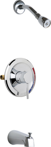 Chicago Faucets (SH-PB1-02-100)  Pressure Balancing Tub and Shower Valve with Shower Head and Diverter Tub Spout