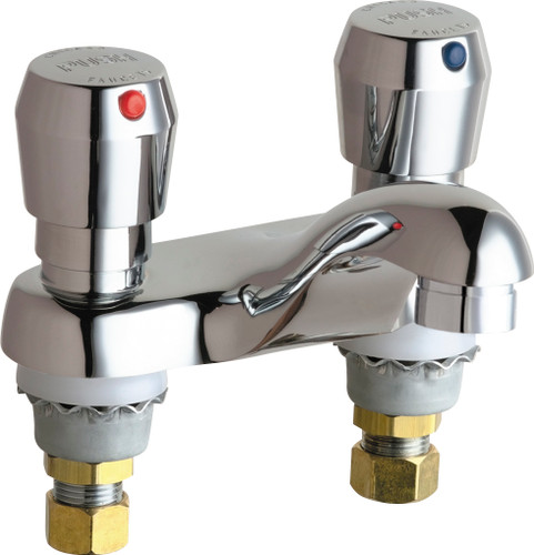Chicago Faucets (802-VE2805-665ABCP)  Hot and Cold Water Metering Sink Faucet