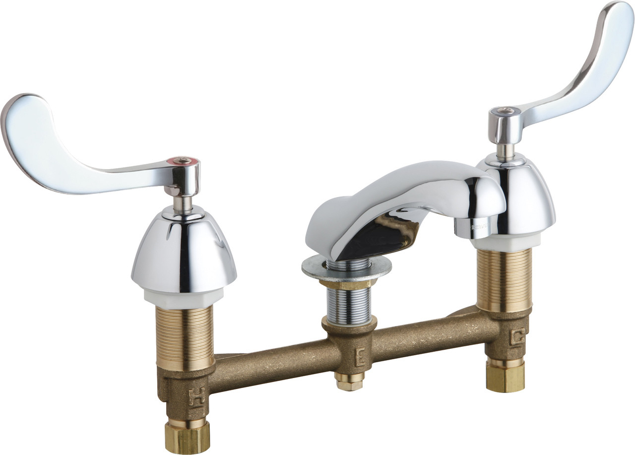 "4/"" Center Lavatory Faucet with Wristblade Handles Chicago Faucets 802-317ABCP"