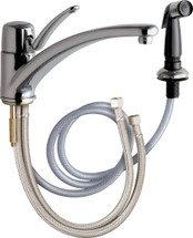 Chicago Faucets (2301-E34ABCP)  Single Lever Hot and Cold Water Mixing Sink Faucet with Side Spray