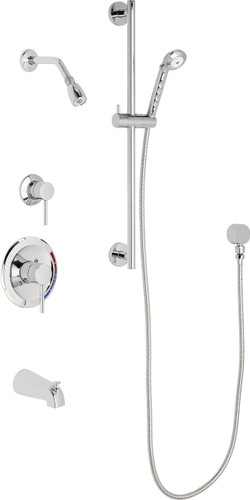 Chicago Faucets (SH-PB1-12-141)  Pressure Balancing Tub and Shower Valve with Shower Head