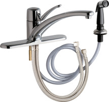 Chicago Faucets (2301-8ABCP) Single Lever Hot and Cold Water Mixing Sink Faucet with Side Spray