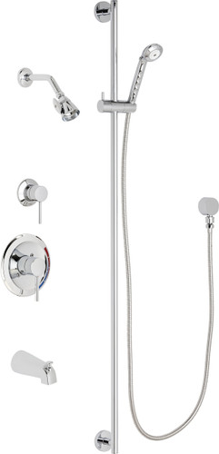 Chicago Faucets (SH-PB1-17-142)  Pressure Balancing Tub and Shower Valve with Shower Head