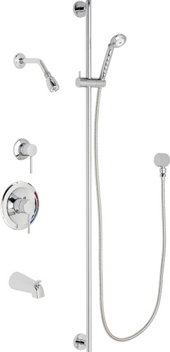 Chicago Faucets (SH-PB1-12-122)  Pressure Balancing Tub and Shower Valve with Shower Head