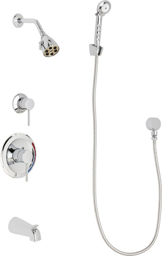 Chicago Faucets (SH-PB1-11-110)  Pressure Balancing Tub and Shower Valve with Shower Head