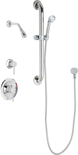 Chicago Faucets (SH-PB1-12-043)  Pressure Balancing Tub and Shower Valve with Shower Head
