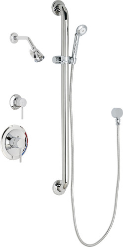 Chicago Faucets (SH-PB1-16-024) Pressure Balancing Tub and Shower Valve with Shower Head