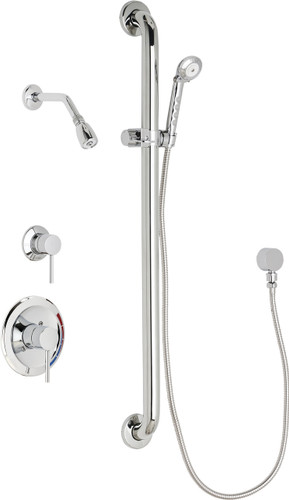 Chicago Faucets (SH-PB1-12-014)  Pressure Balancing Tub and Shower Valve with Shower Head