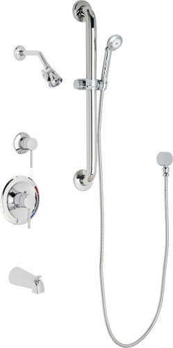 Chicago Faucets (SH-PB1-17-143)  Pressure Balancing Tub and Shower Valve with Shower Head