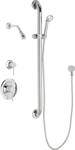 Chicago Faucets (SH-PB1-13-044)  Pressure Balancing Tub and Shower Valve with Shower Head