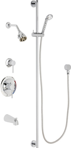Chicago Faucets (SH-PB1-11-122)  Pressure Balancing Tub and Shower Valve with Shower Head