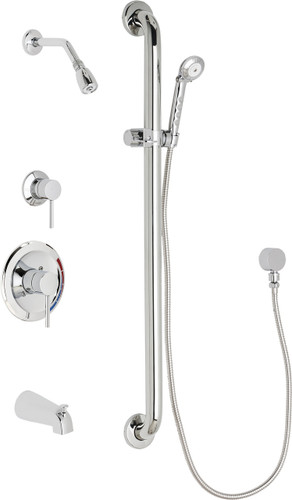 Chicago Faucets (SH-PB1-13-134)  Pressure Balancing Tub and Shower Valve with Shower Head