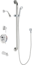 Chicago Faucets (SH-PB1-12-124)  Pressure Balancing Tub and Shower Valve with Shower Head