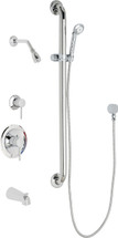 Chicago Faucets (SH-PB1-13-144)  Pressure Balancing Tub and Shower Valve with Shower Head
