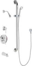 Chicago Faucets (SH-PB1-13-124) Pressure Balancing Tub and Shower Valve with Shower Head