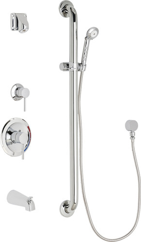 Chicago Faucets (SH-PB1-15-114)  Pressure Balancing Tub and Shower Valve with Shower Head