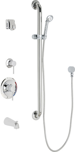 Chicago Faucets (SH-PB1-14-144)  Pressure Balancing Tub and Shower Valve with Shower Head